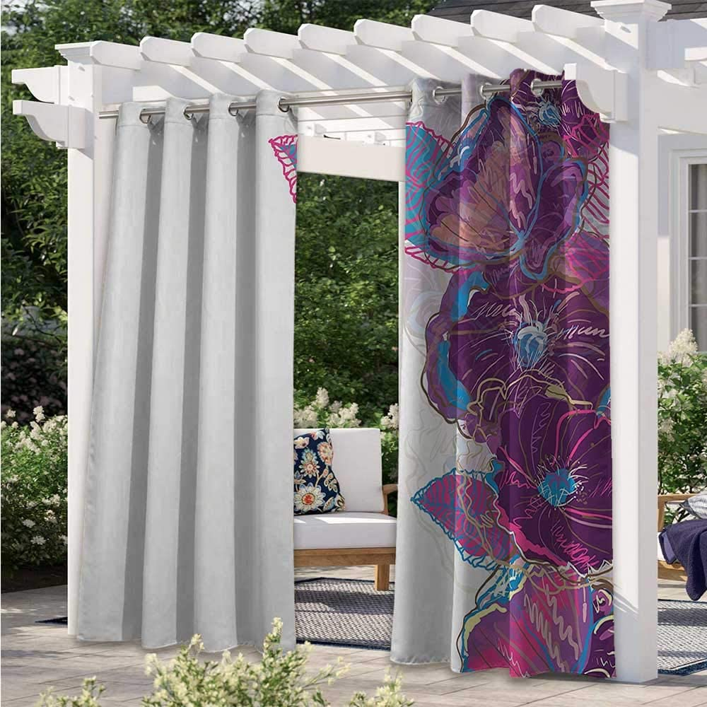Outdoor Door Curtain Watercolor Drawing Style Artistic Flowers Leaves Butterfly Ornamental Border Waterproof Patio Door Panel Give You More Time to Enjoy Outside Purple Pink Blue W120 x L96 Inch