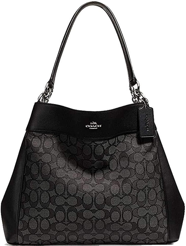SALE ! New Authentic COACH Elegant Monogram Large Shoulder bag in Gorgeous Grey & Black !