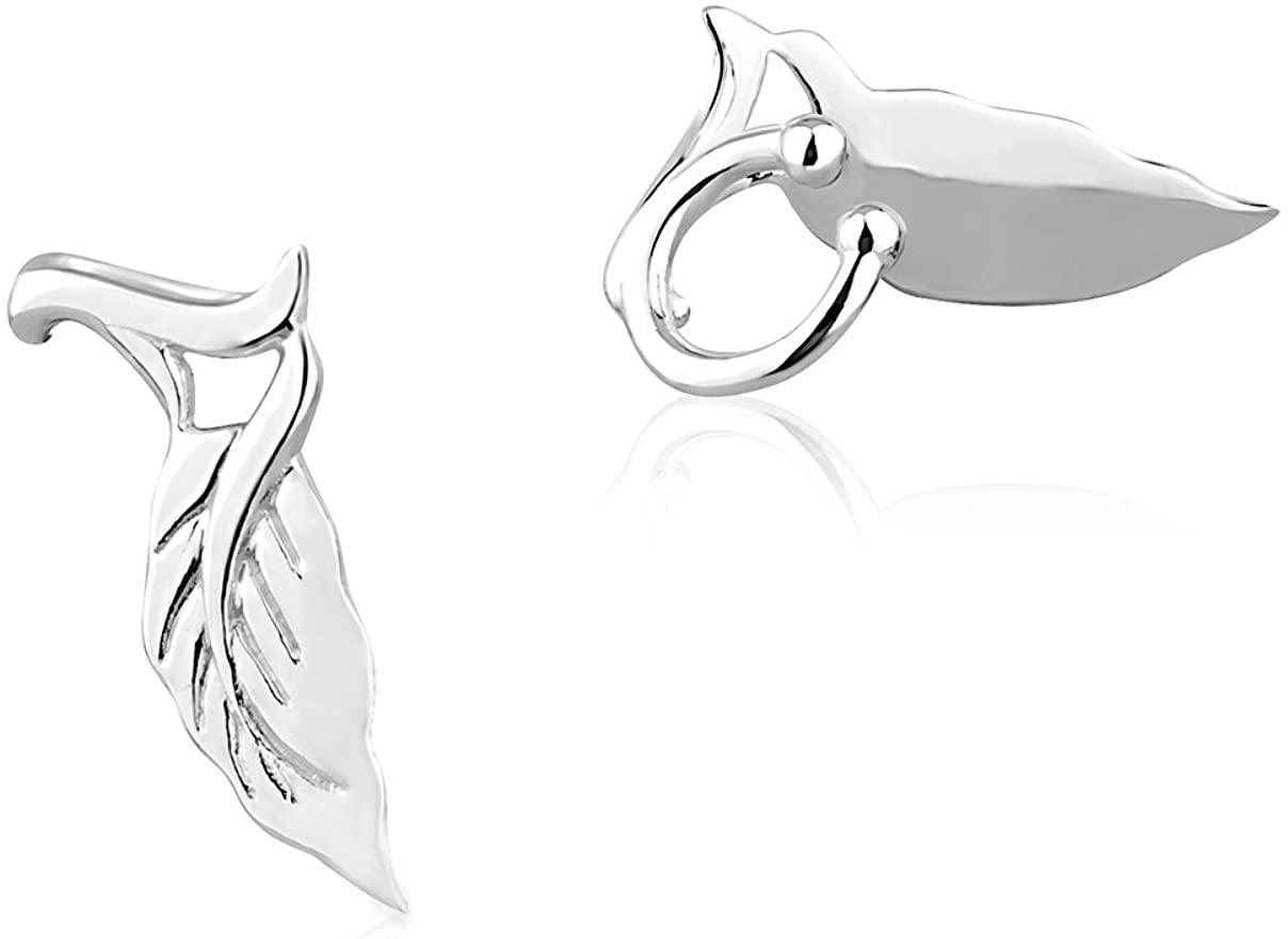 925 Sterling Silver Single Leaf No Pierce Ear Cuff Wrap Earrings, Set of Two (2) 9, 18 mm
