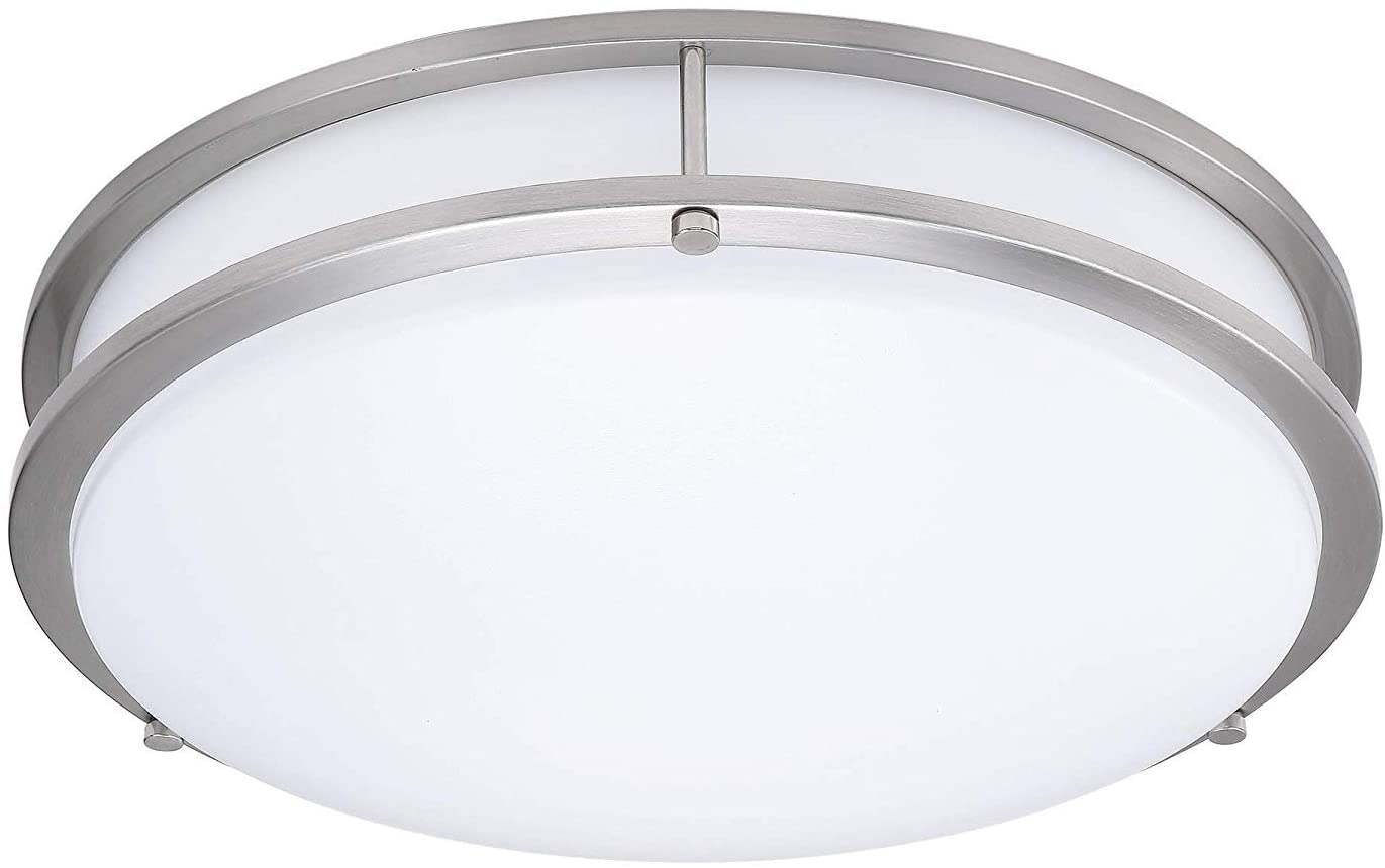 LB72123 LED Flush Mount Ceiling Light, 16 inch, 23W (200W Equivalent) Dimmable 1610lm, 4000K Cool White, Brushed Nickel Round Lighting Fixture for Kitchen,Hallway,Bathroom,Stairwell
