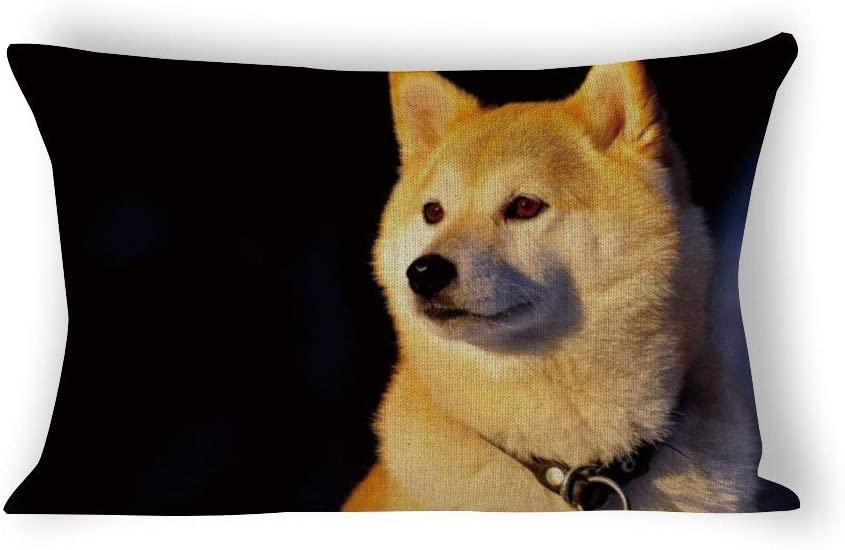 Yilooom Animals Collar Shiba Inu Dog Rectangle Decorative Cotton Linen Throw Pillow Case Cushion Cover Lumbar Pillowcase for Couch Sofa Bed 12 X 16 Inches