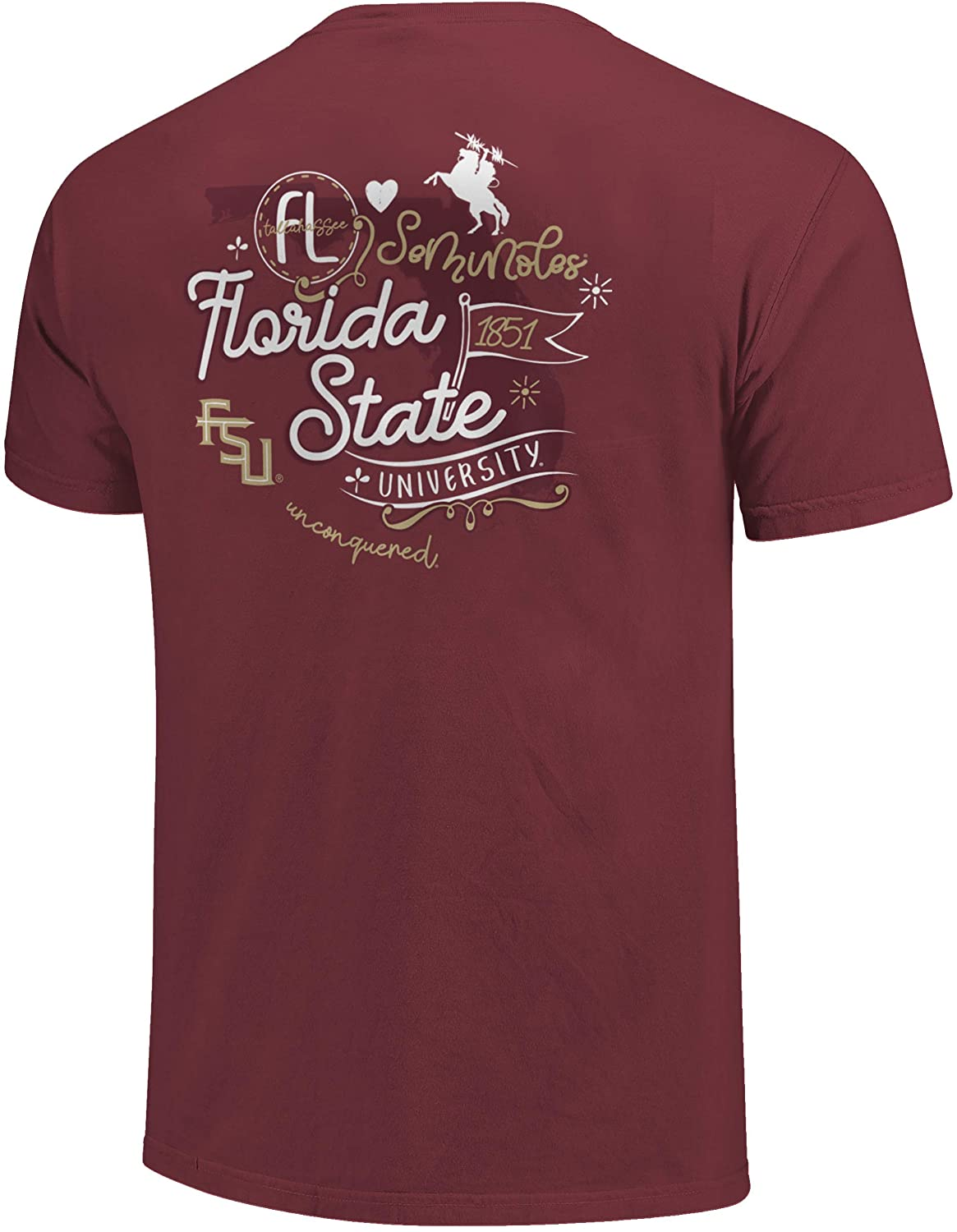 Image One NCAA Florida State Seminoles Womens Comfort Color T-Shirt State Doodles, Brick, Large