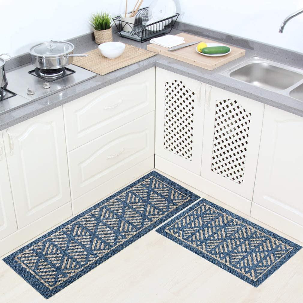 VANZAVANZU Kitchen Rug Sets, 2 Pack Kitchen Mats Natural Latex Backing Non Slip Super Absorbent Rug Sets, Durable Microfiber Washable Kitchen Carpet Sets for Kitchen Floor (43