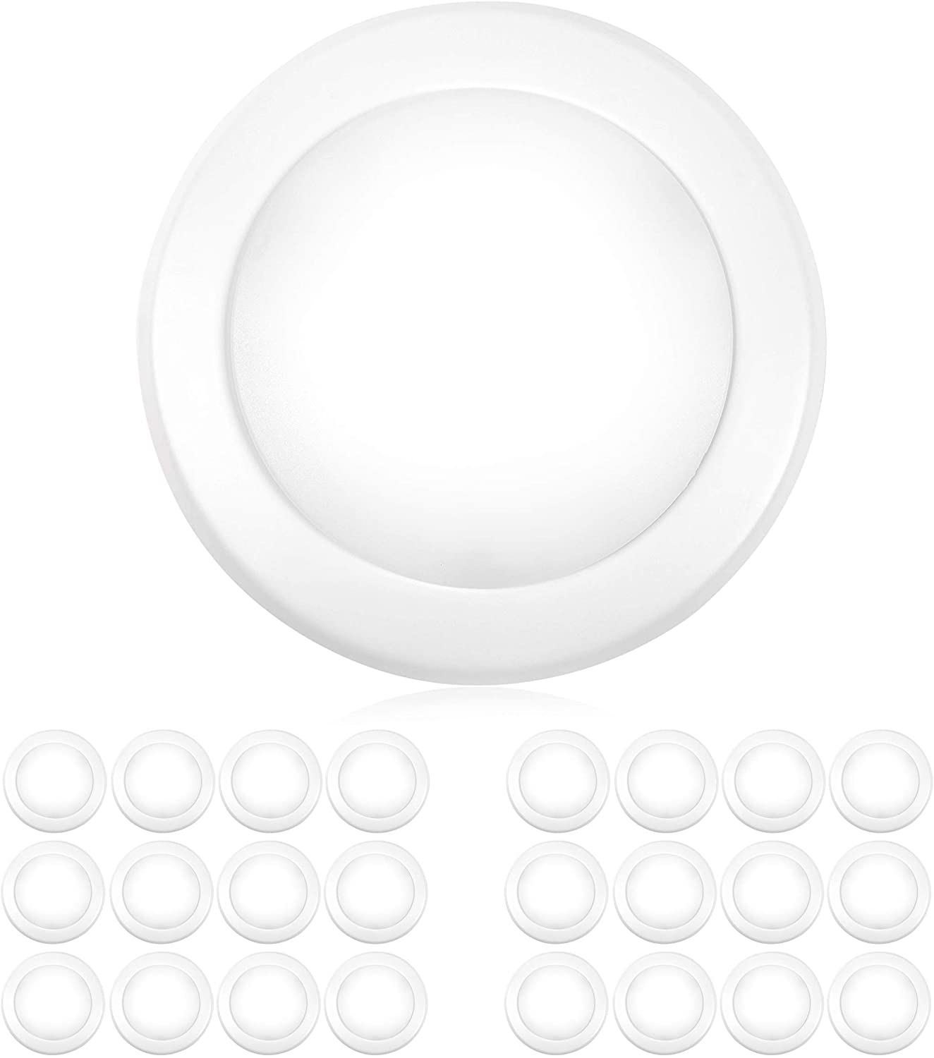 """PARMIDA (24 Pack) 5/6"""" Dimmable LED Disk Light Flush Mount Recessed Retrofit Ceiling Lights, 15W (120W Replacement), 2700K, Energy Star & UL-Listed, Installs into Junction Box Or Recessed Can, 1050lm"""
