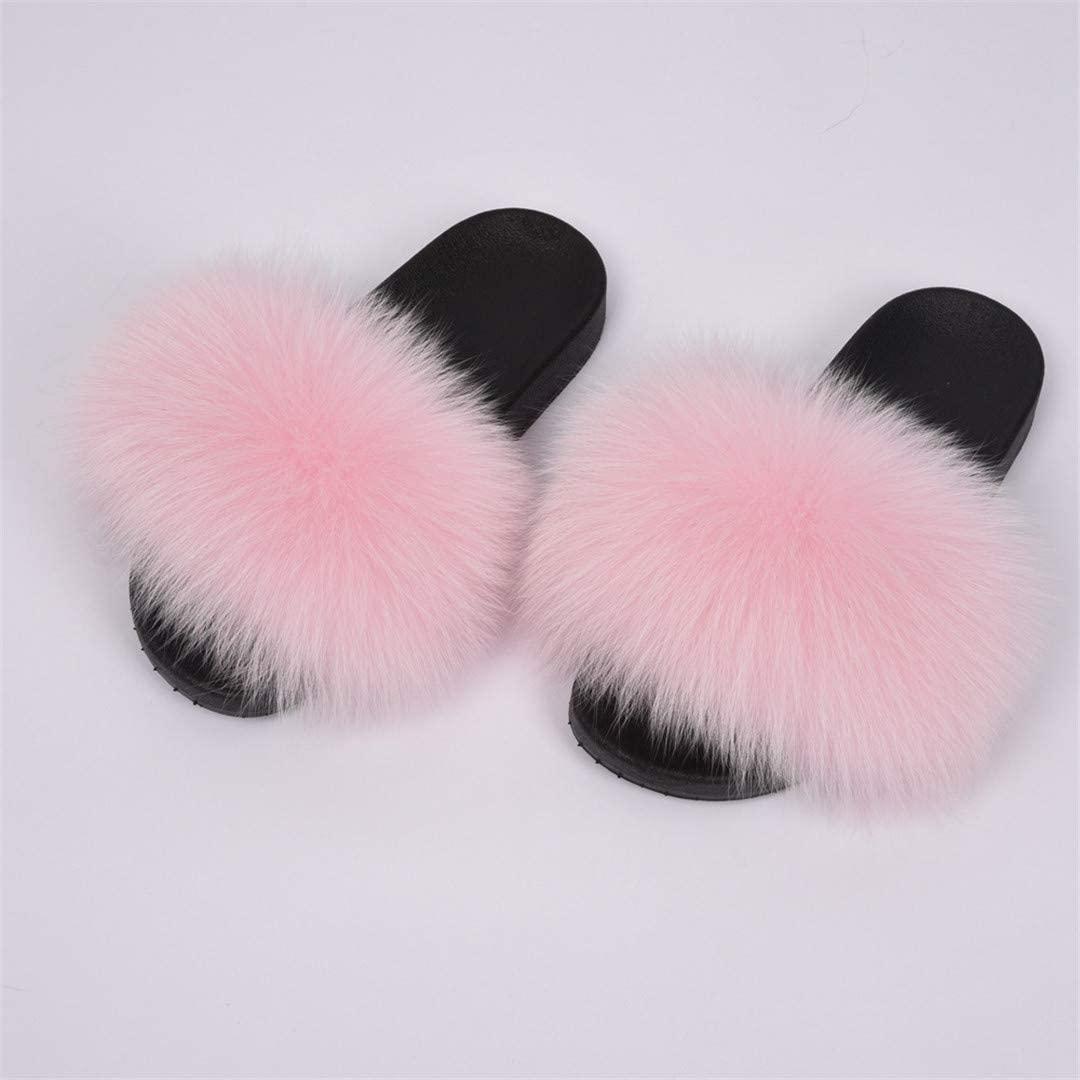 FLIPTUOXE Womens Fox Fur Slippers Shoes Flip Flops Flat Fluffy Fur Sliders