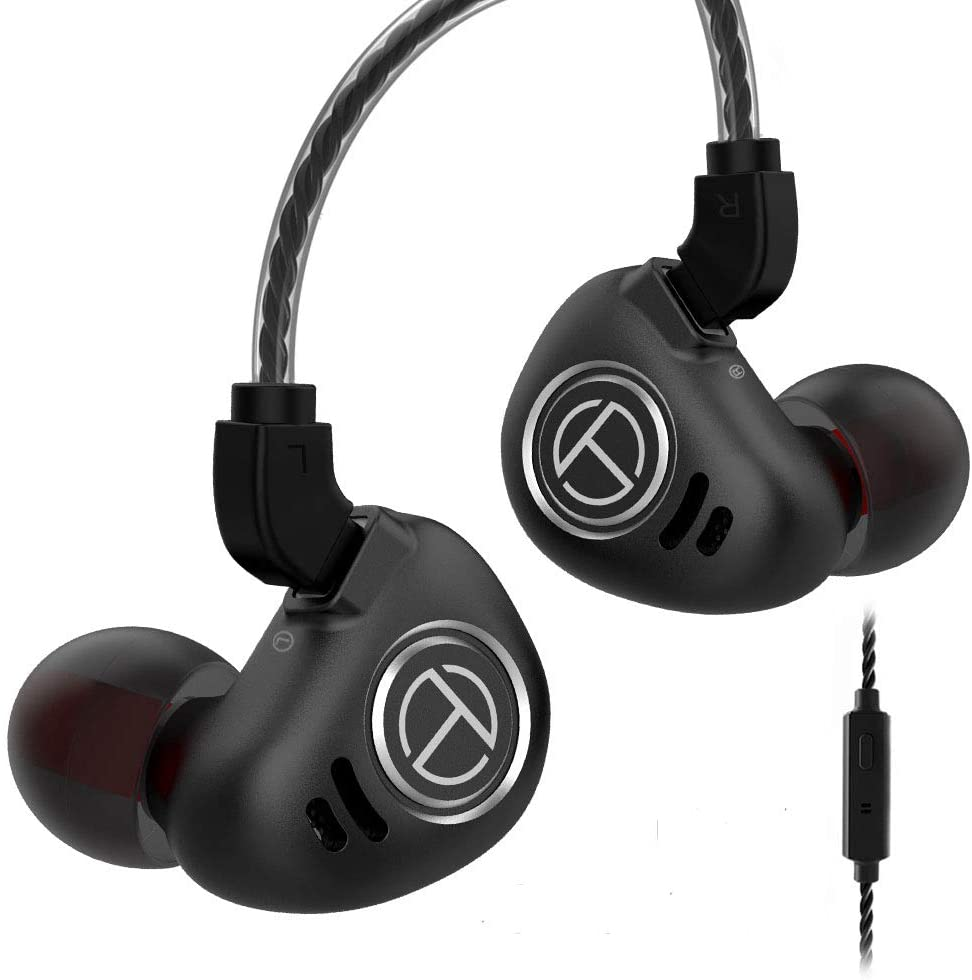 TRN V90 HiFi Earphone,in Ear Earphone 1 Dynamic & 4 Balanced Armature Driver Stereo Bass IEM, Metal in Ear Headphone, Stage/Studio in Ear Monitor with Detachable 2 Pin Cable (Black with Mic)