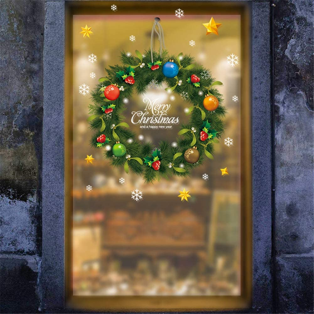 Youyouyu Christmas Windows Clings Decal Removalble Wall Stickers DIY Santa Claus Snowman Home Decor Kids Room Living Room Bedroom Merry Christmas Decorations (4#Christmas)