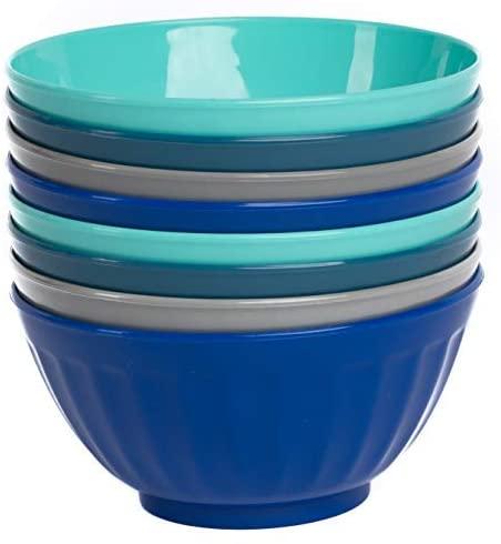 Klickpick Home Large Plastic Cereal Salad Bowl Set Of 8-28 Oz Dish Washer Microwave Safe BPA free (6 Inch)