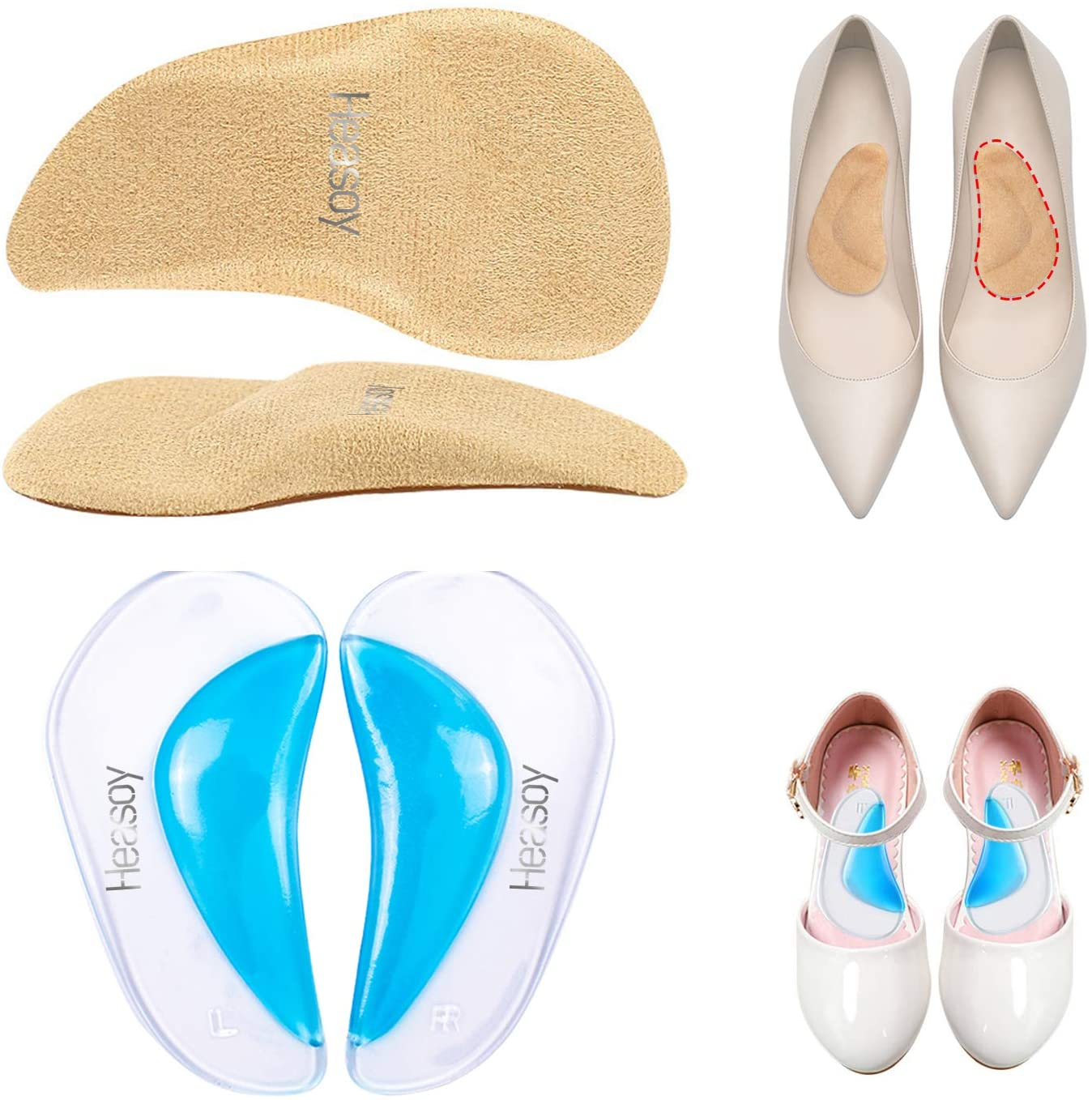 Heasoy Arch Support Orthotic Insoles, Arch Orthotic Insoles, Silicone Arch Correction Insoles for Foot Pain Relief, Plantar Fasciitis, Flat Feet, Foot Valgus, O/X-leg, Suitable for Men, Women and Kids