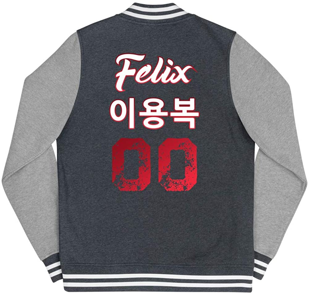 Felix Letterman Jacket Name & Birth Year Outerwear for Women   Kpop Stray Kids STAY Fan Merchandise