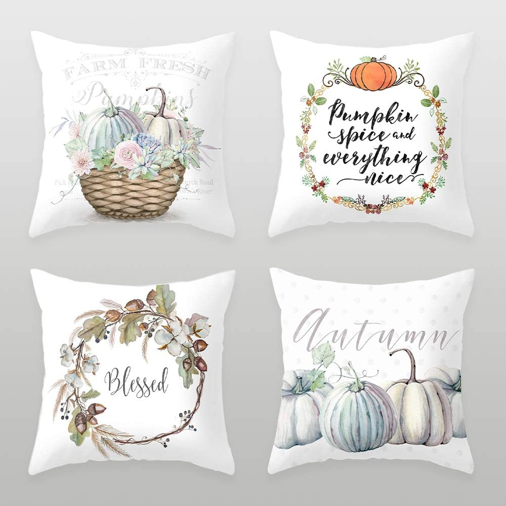 Gomi 4pcs Halloween Pillow Covers, Pumpkin Pillow Cover, Happy Halloween Thanksgiving Linen Sofa Couch Bed Throw Cushion Cover Decoration (18
