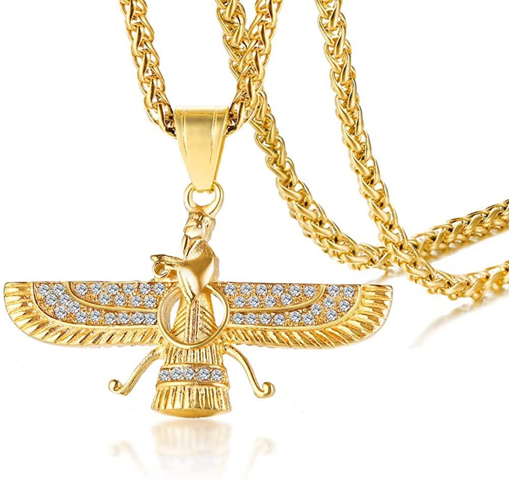 PJ Jewelry Men's Farvahar Ahura Mazda Zoroastrian Persian Achaemenian Pendant Stainless Steel Iran Symbol Gift