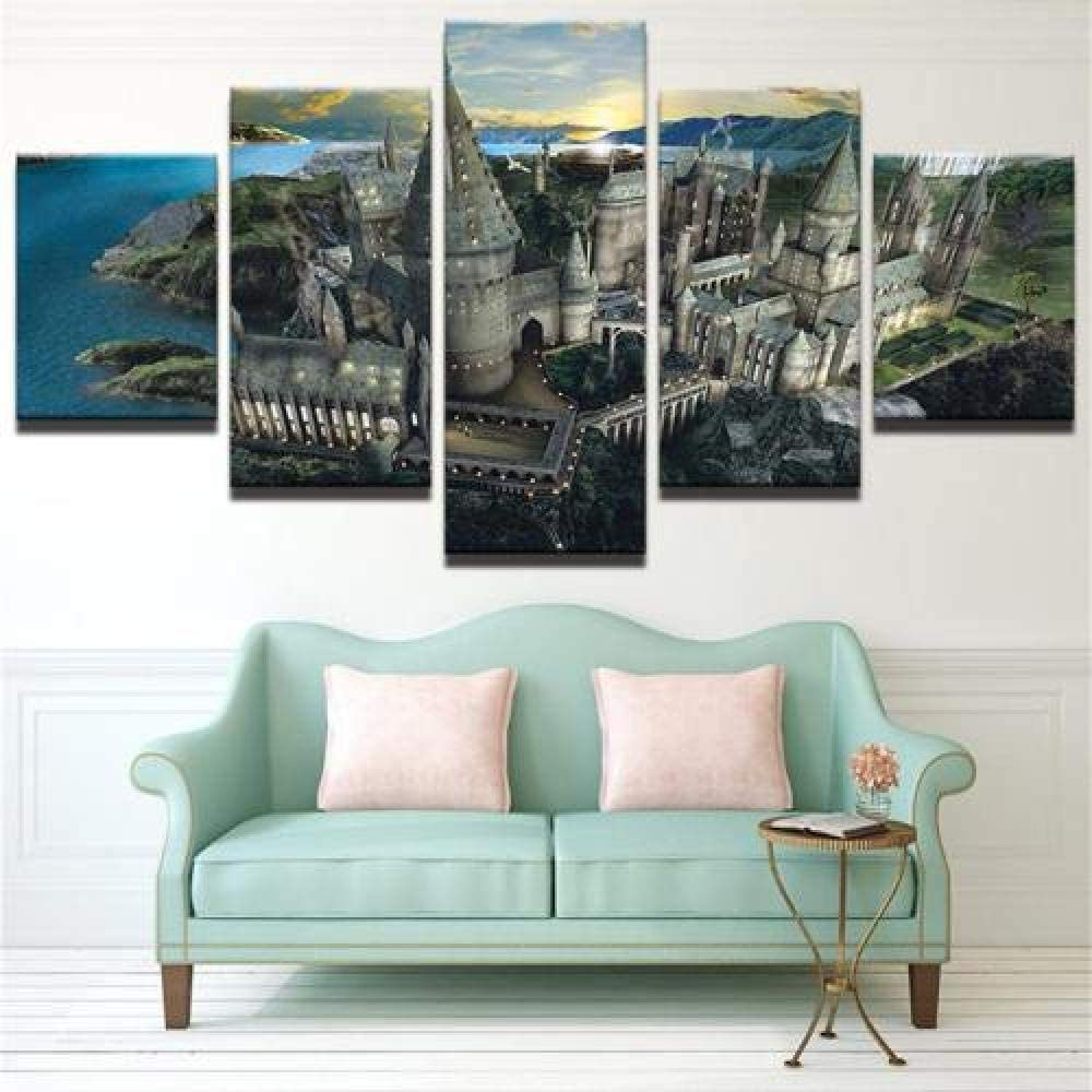 REOMFJG New Canvas for Painting 5 Piece Canvas Wall Art for Living Room Home Decoration Artwork Modular Creative Gift 150X80Cm Ready to Hang Hogwarts Harry Potter