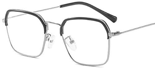 WUZHOUAME Goggle UV Protection Retro Square Flat Mirror Anti-Blue Eyebrow Frame Glasses Business Joker Glasses (Color : B)