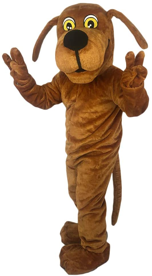 Langteng Plush Brown Dog Mascot Costume Cute Unisex Animal Cosplay Costumes Cartoon Character Clothes for Adults Business Mascots Party Halloween