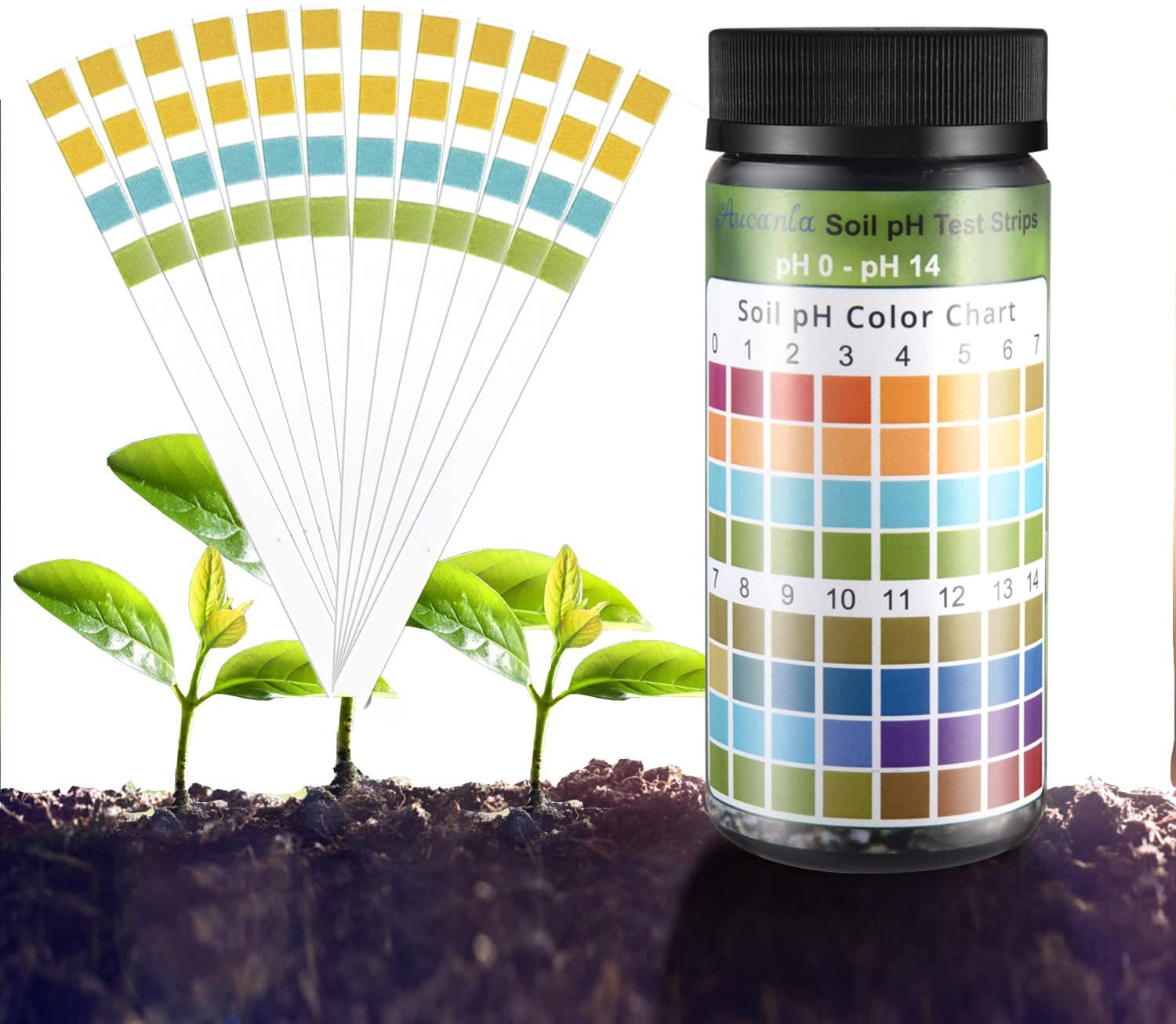 Aucanla Soil pH Test Kit,Gardening Tool Kits for Plant Care, Home,Garden, Lawn and Farm with 100 pcs Soil Test Strips
