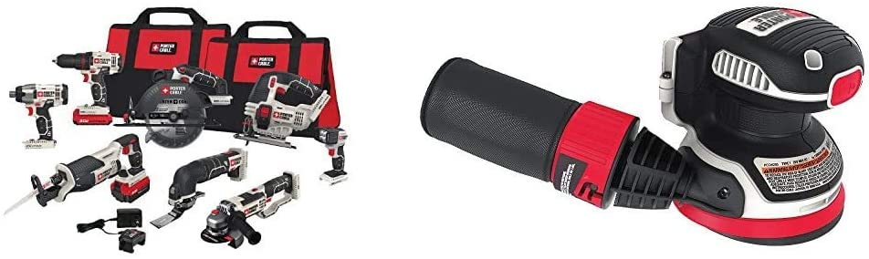 PORTER-CABLE 20V MAX Cordless Drill Combo Kit, 8-Tool (PCCK619L8) & 20V MAX Random Orbital Sander, Cordless, 5-Inch, Tool Only (PCCW205B)