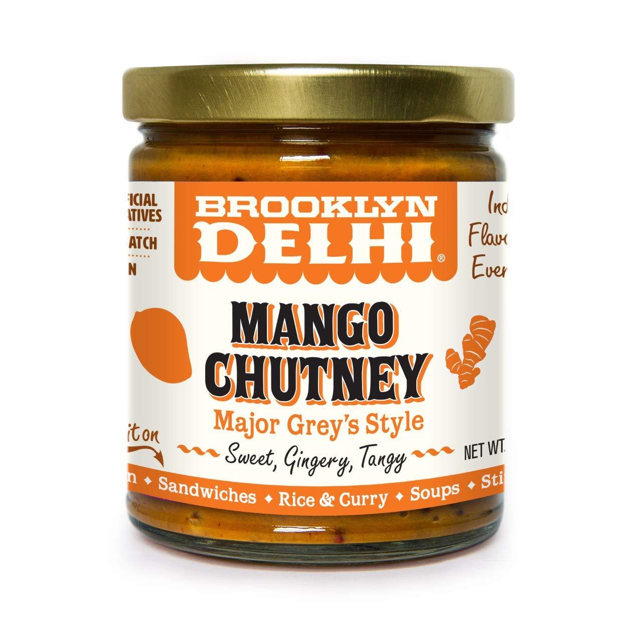 Brooklyn Delhi Mango Chutney, Major Grey Style Sweet, Gingery, Tangy, 9 Oz