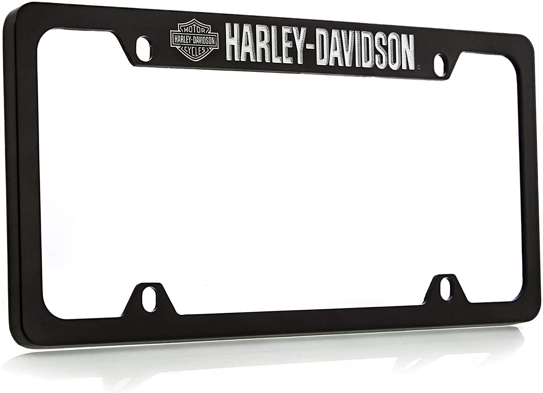 Harley Davidson Silver & Black Bar & Shield Logo on left Car Truck SUV License Plate Frame Black Metal - Harley Davidson Script on Top