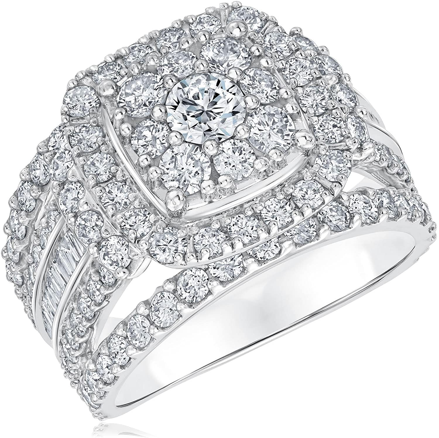 Round and Baguette Diamond Cushion Shape Engagement Ring 3ctw