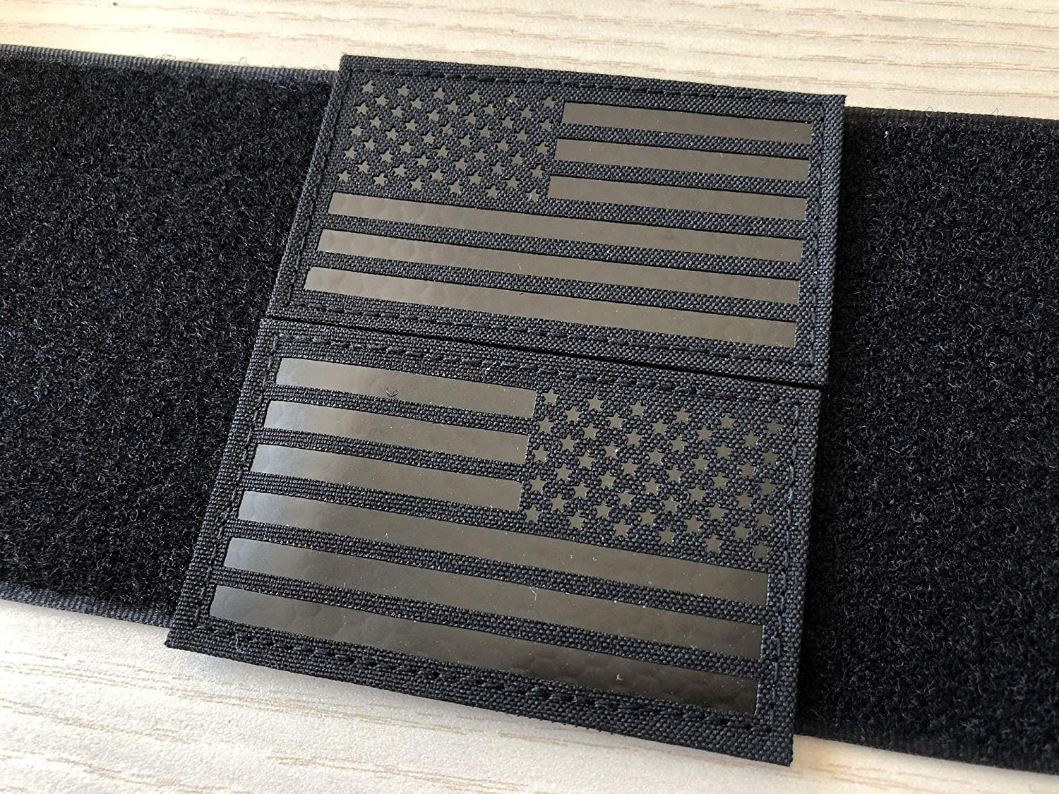 SUVIYA 2x3.5 inch Black Infrared IR US USA American Flag Patch with Hook/Loop (Forward and Reversed)