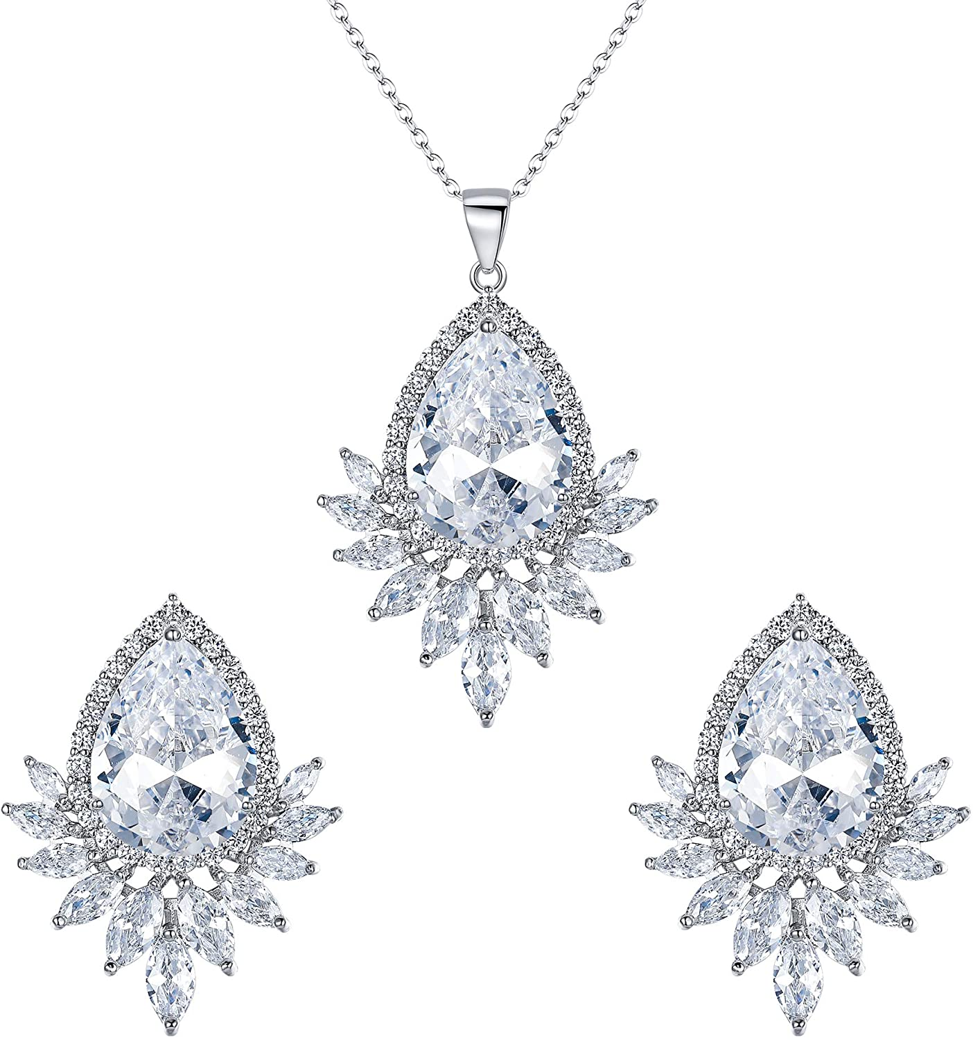 Wedure Cubic Zirconia Elegant Sunflower Necklace Earrings Set for Wedding Prom Party