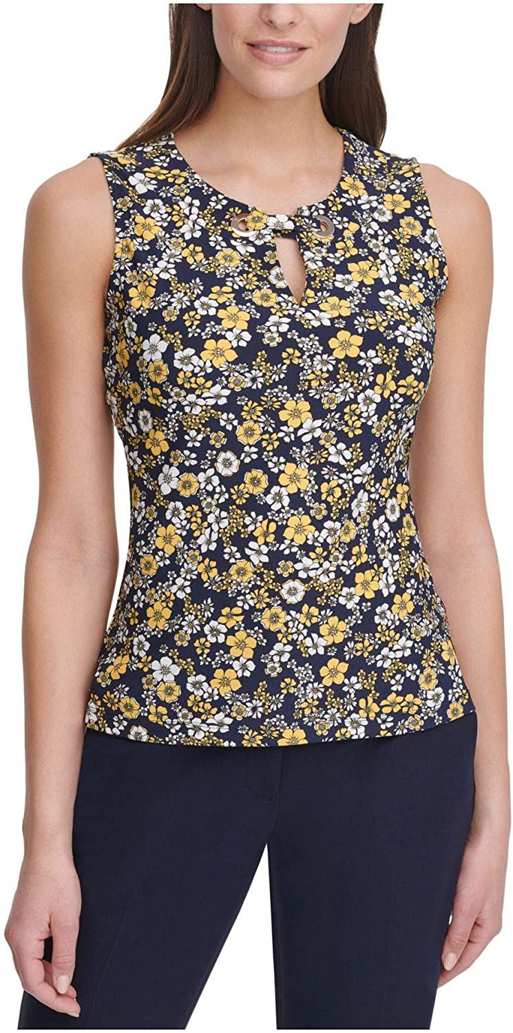 Tommy Hilfiger Womens Blue Floral Sleeveless Keyhole Top Size L