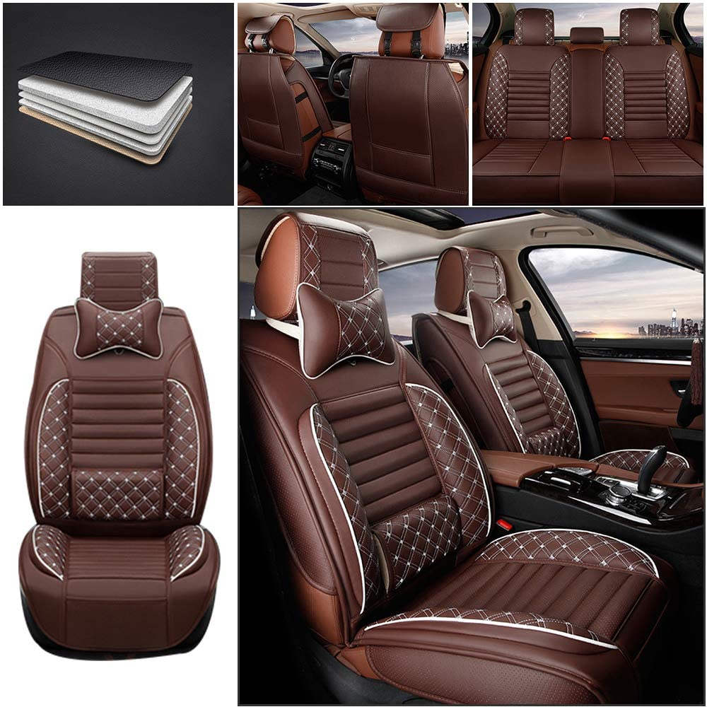 Maiqiken Custom Auto Seat Cover & Pillows for Toyota RAV4 2019 Embroidered PU Leather Front & Rear Row Seat Cushion Car Pad Protector Full Surrounded