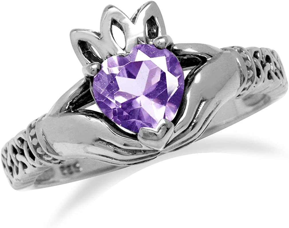 Silvershake Genuine Heart Shape Amethyst 925 Sterling Silver Irish Claddagh and Triquetra Celtic Knot Ring
