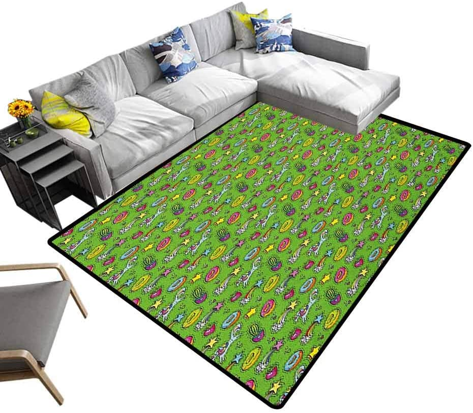 Multicolored Area Rug Cactus, Super Soft Faux Fur Area Rugs Unicorns with Plants and Food Donuts Strawberries Heart Shooting Stars Cartoon Style Textured Geometric Design Multicolor, 6.5 x 10 Feet