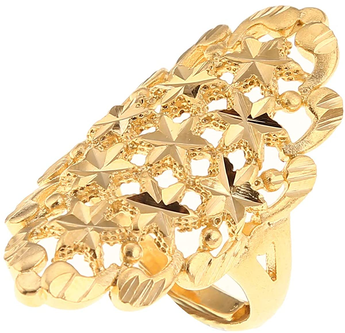BR Gold Jewelry Star Engagement Adjustable Size Finger Ring for Ethiopian African Nigerian Design