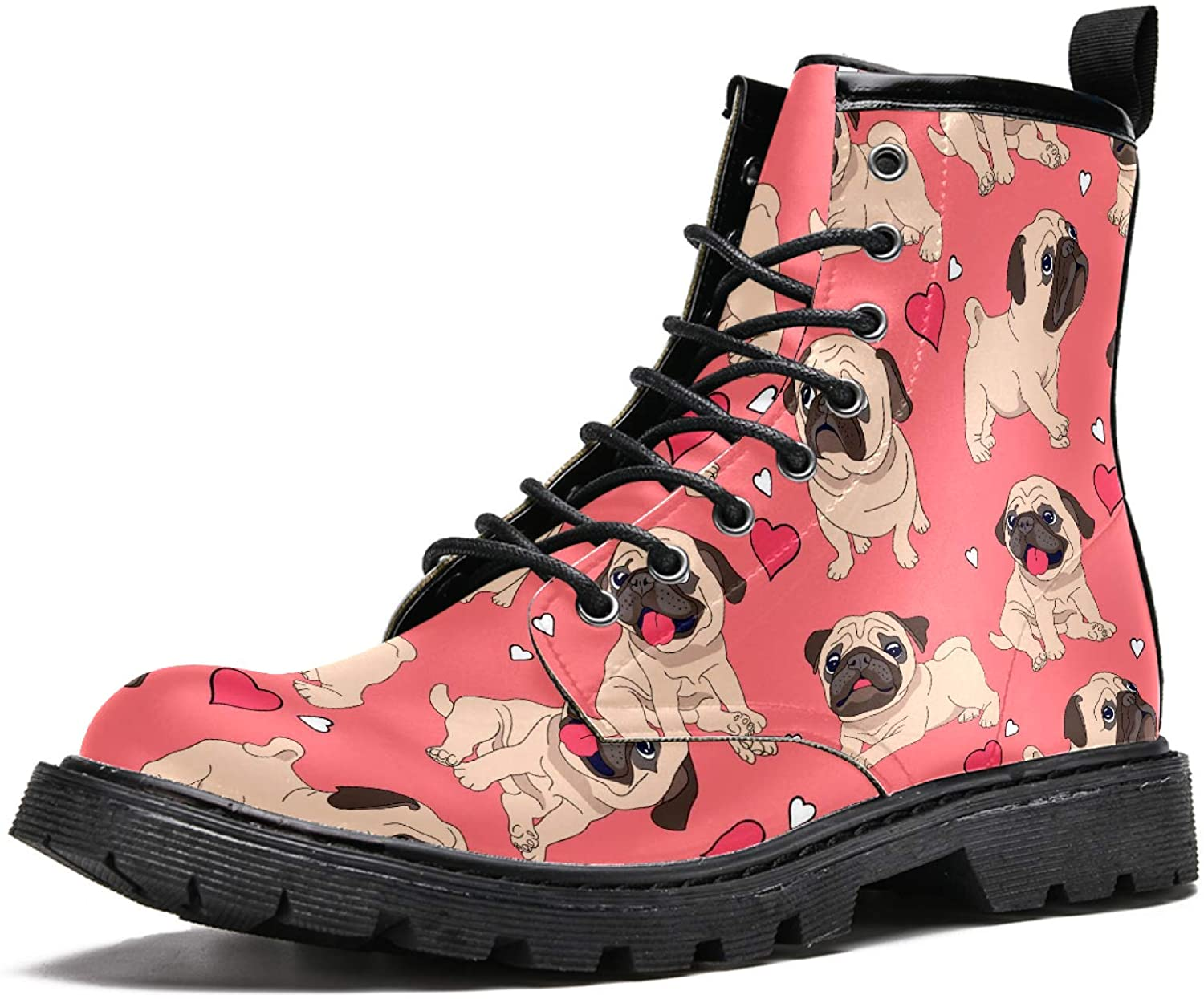 LORVIES Pugs Puppies Love Heart Men's High Top Boots Lace Up Casual Leather Ankle Shoes
