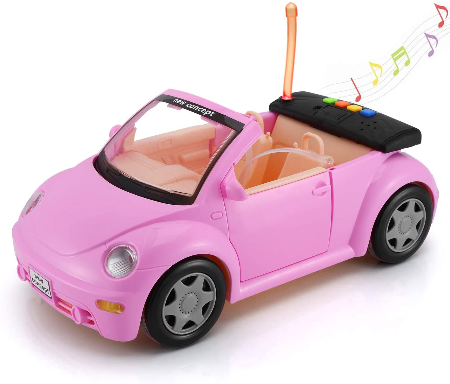 KeepRunning Convertible Car for Dolls (Great for Small Dolls), Glittering Magenta Convertible Doll Vehicle with Working Seat Belts