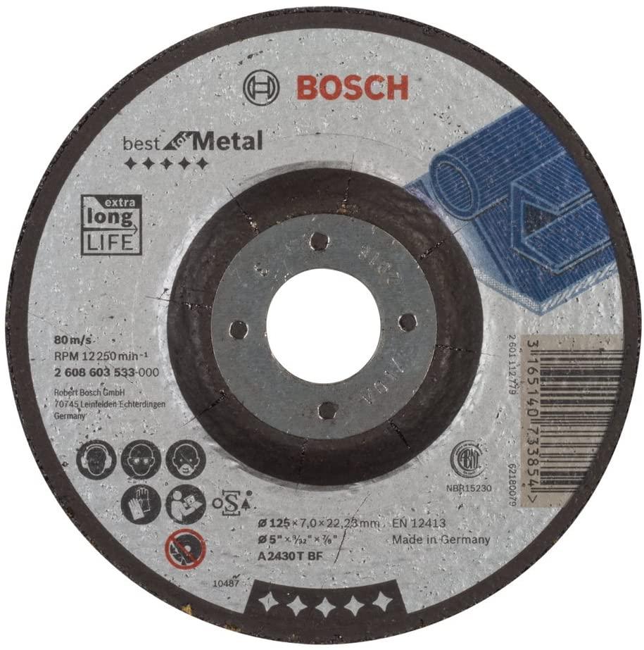 Bosch 2608603533 Grinding Disc For Metal Cranked 4.92inx7mm