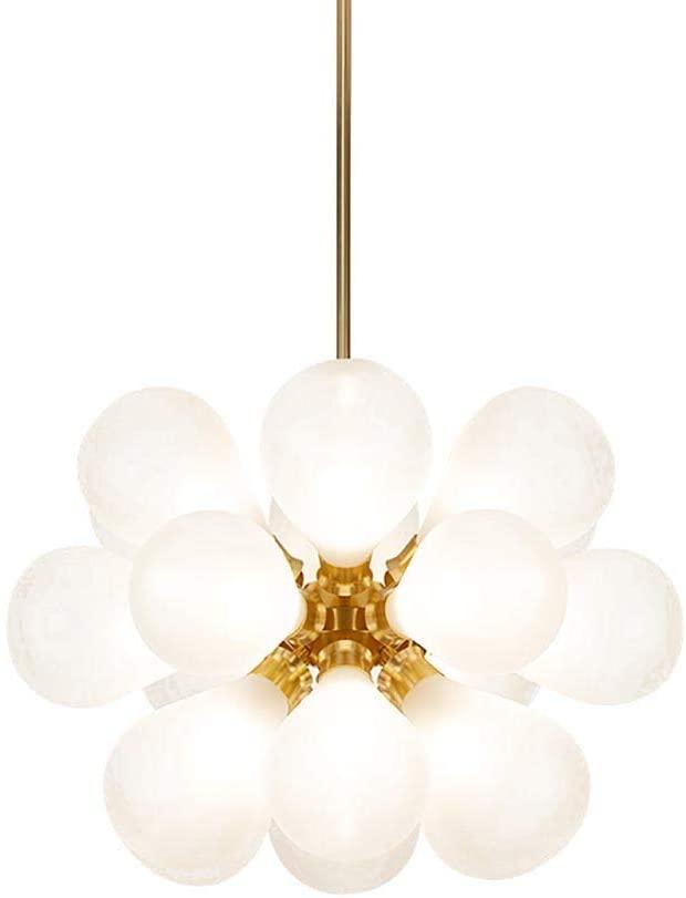 HLL Household Chandeliers,Nordic Mid Century Glass Ball Bubble Chandelier,Creative Modern -Lights Sputnik Pendant Light,Semi-Flush G9 Living Room Ceiling Light Lamp Gold-White Cover 18 Head,Gold-Whit