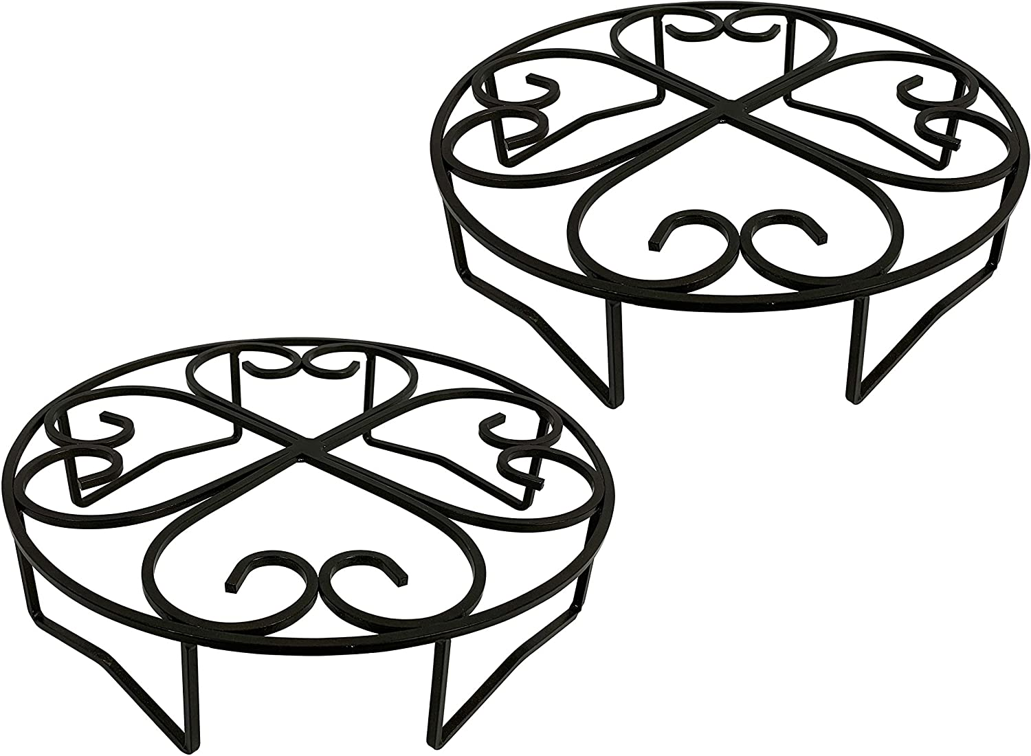 Cocoyard 10 Inch Metal Plant Stand, Set of 2, Heavy Duty Flower Pot Holder Rack for Indoor Outdoor, Metal Rustproof Iron Planter Pot Trivet, Great Gift for Plant Lovers or Any Occasion