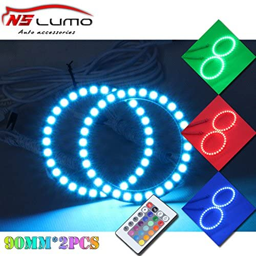 RGB 90mm Led Angel Eyes - NSLUMO LED Multi-Color RGB 5050 Flashing Angel Eyes Halo Ring Light with Remote Controller Led Halo Light Kit