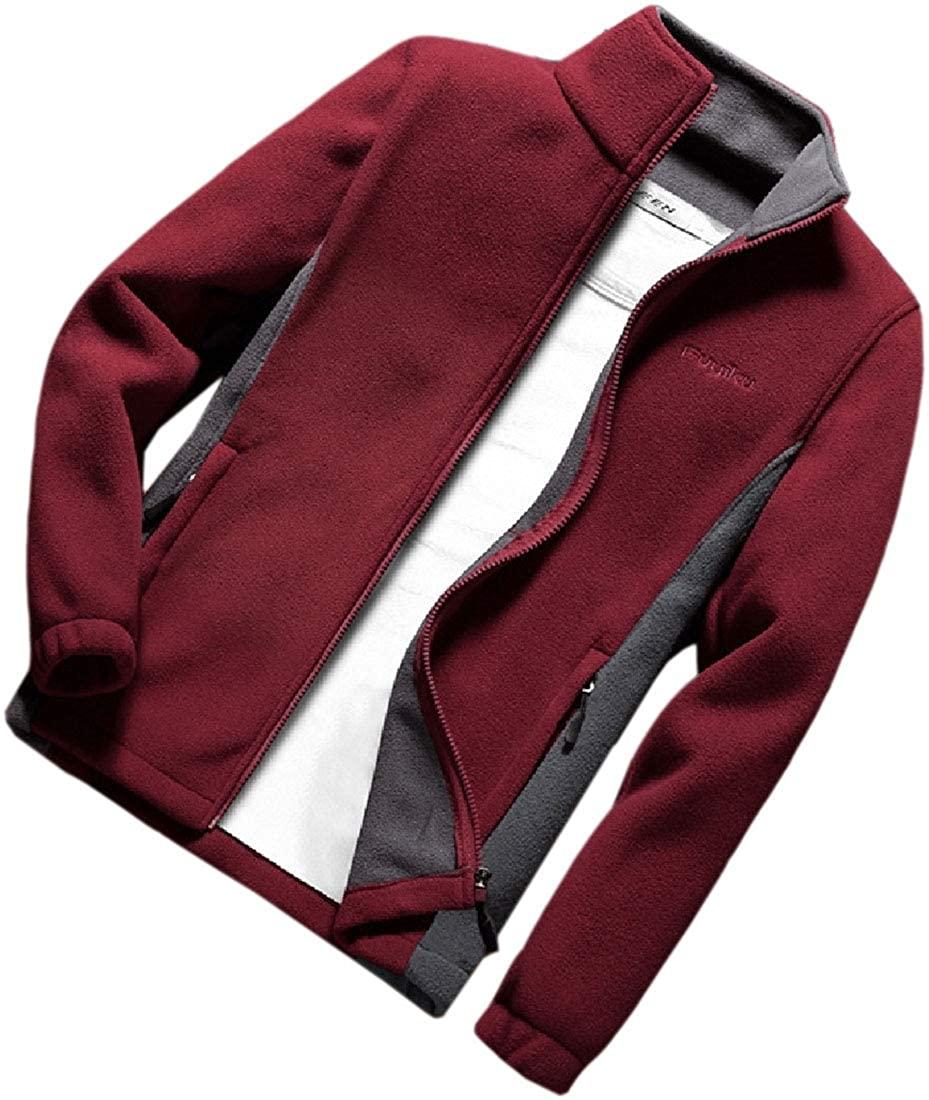 Smeiling Mens Plus Size Coats Fleece Lined Jacke Casual Cardigan Sweatshirt
