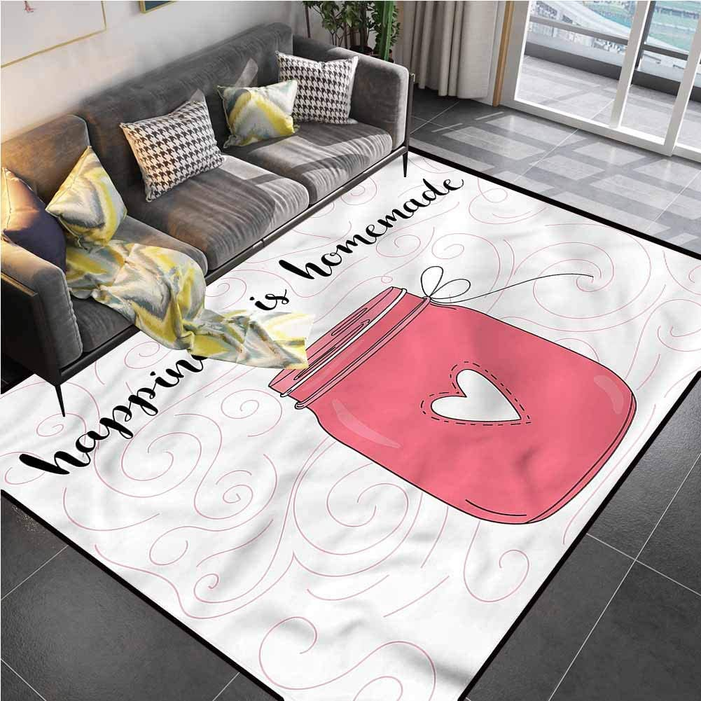 Area Rug Rugs Print Large Floor Mat Quote,Jar of Love and Swirls Chair mat for Carpet for Living Dining Dorm Playing Room Bedroom 6'6