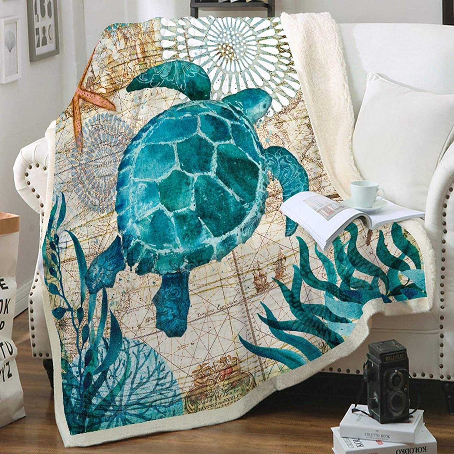Qucover Sea Turtle Blankets 3D Printing Coral Velvet Throw Blanket Throws Cushion with Sherpa Lining for Couch Sofa Travel 59x51 Inch