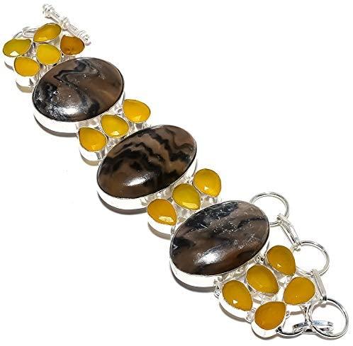 Wave Jasper, Yellow Sapphire Gemstone 925 Sterling Silver Bracelet 7-8