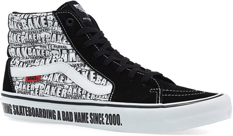 Vans Men SK8 Hi Pro Baker Suede Black/White Skate Shoes VN0A45JDV0B (13.0)