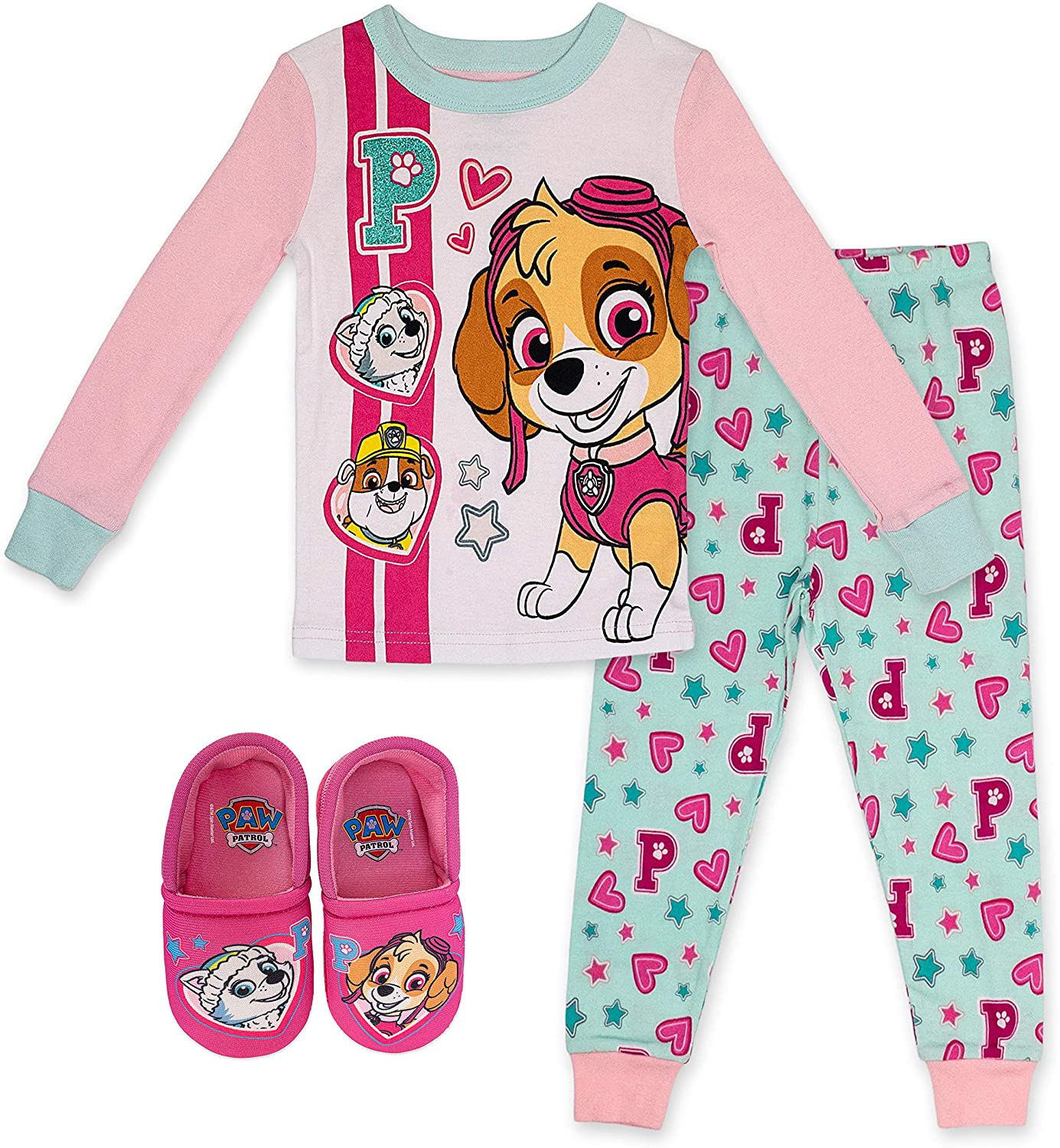 Paw Patrol Girl's Pajama and Slipper Set,2 Piece PJ Set with Slippers Bundle,Pink,100% Cotton,Toddler Girl's Size 2T to 5T