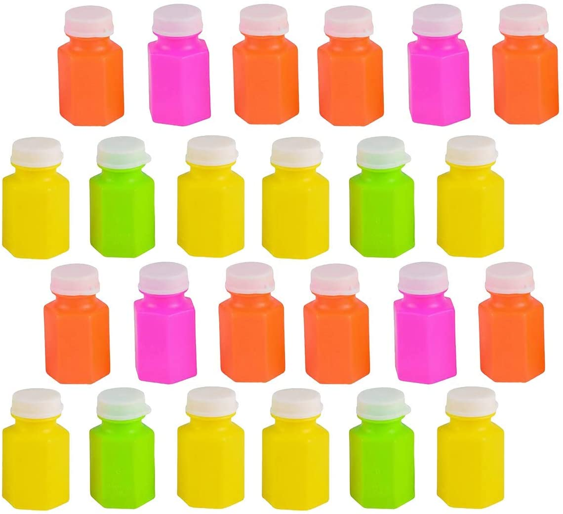 Kicko Neon Bubble Bottles - 2 Inches 0.6 Ounce Colorful Mini Assorted Bubble Bottle - Pack of 24 - Small Carnival Prizes for Kids Bulk, Summer Party Favors, Birthday Parties Supplies