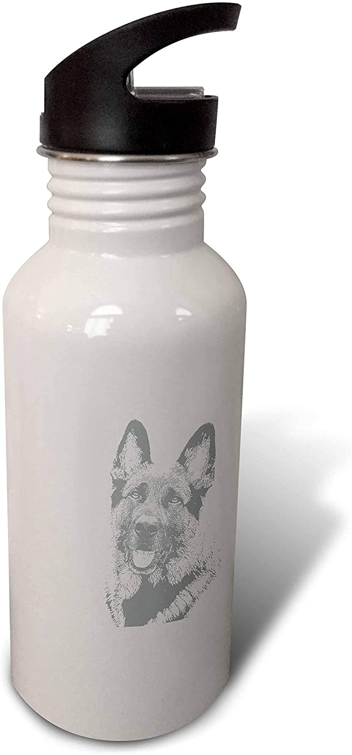 3dRose Photograph of a German Shepherd with a Stamp Effect in Gray. - Water Bottles (wb_327061_2)