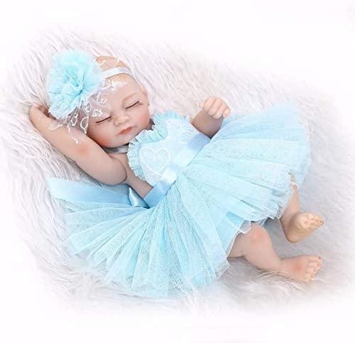 Nicery Reborn Baby Doll Hard Simulation Silicone Vinyl 10inch 26cm Waterproof Bathe Toy Gift Blue Dress Girl Eyes Close Nicery-RD26012G