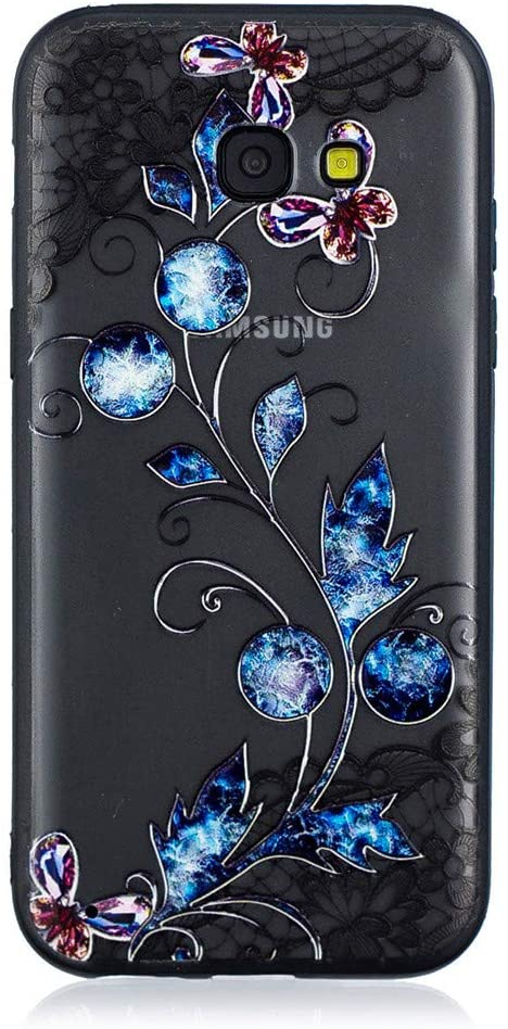 Abtory Galaxy A5 2017 Case for Girls, [Full-Body 360 Coverage Protective] Floral Printed Design Hard Plastic and TPU Gel Bumper Protective Cover Slim Case for Samsung Galaxy A5 2017 Butterfly
