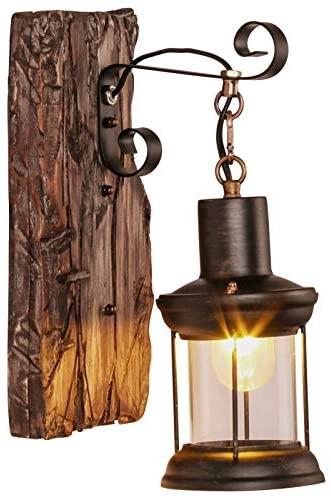XL- Vintage Retro Wall Lamp, Metal Glass Creative E27 Rustic Wooden Bracket Light, Restaurant Bar Cafe Corridor Kitchen Bedroom Living Room Wall Lights