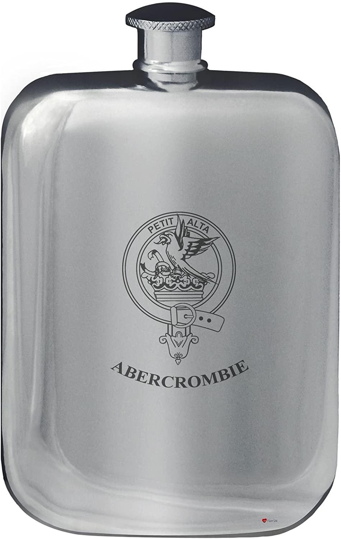 Abercrombie Family Crest Design Pocket Hip Flask 6oz Rounded Polished Pewter