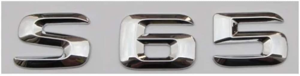 Generies Brands Chrome Shiny Silver ABS Car Trunk Rear Number Letters Words Badge Emblem Decal Sticker for Mercedes-Benz S65 AMG (S65,Shiny Silver)